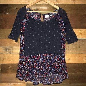 Anthro Postmark Ruffle Peplum Tee Shirt Blouse Top
